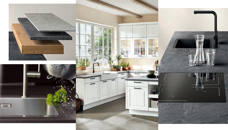 Materiál i design pracovních desek nebo dřezů není v současnosti problém sladit s venkovským stylem kuchyně.